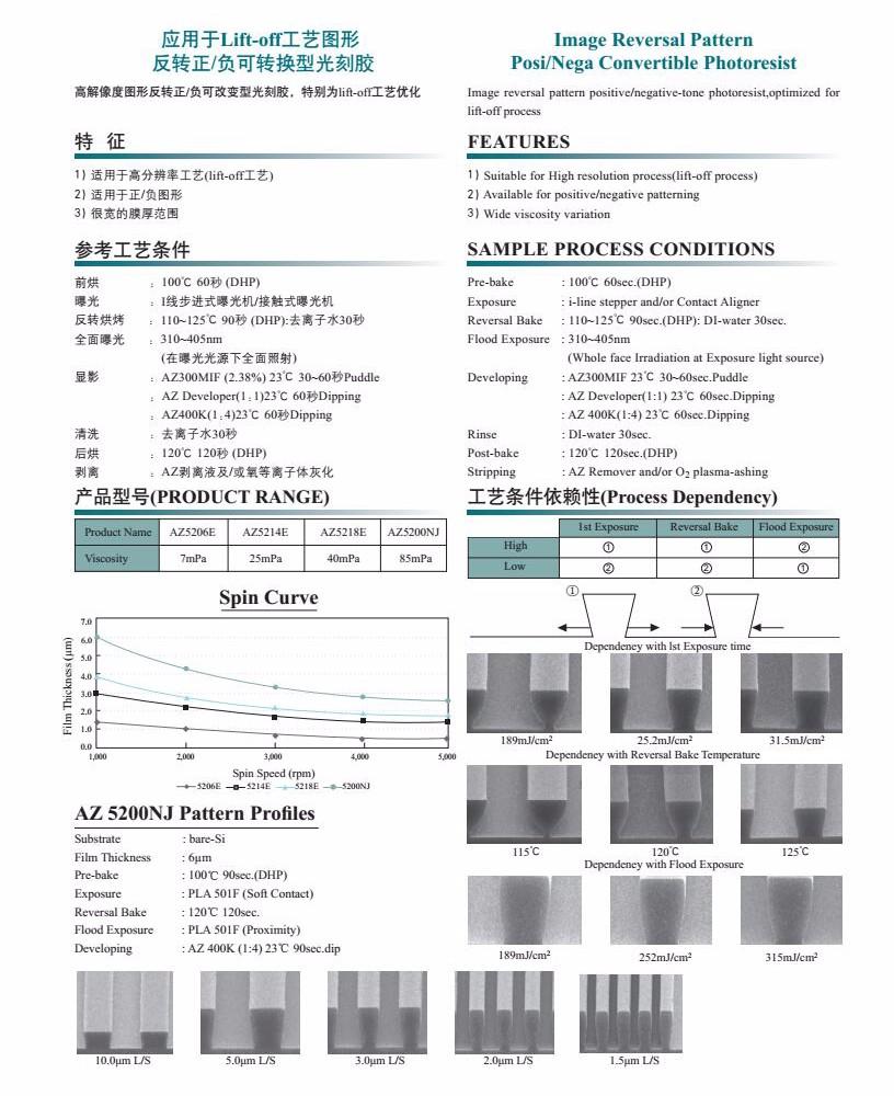 AZ 5214E 正/负可改变型光刻胶价格、工艺、参数、优缺点及说明