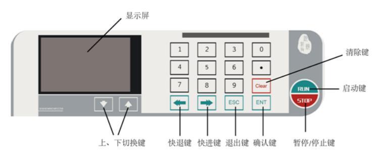 WH-SP-01单通道微量注射泵产品外观操作界面,全程按键触点设置