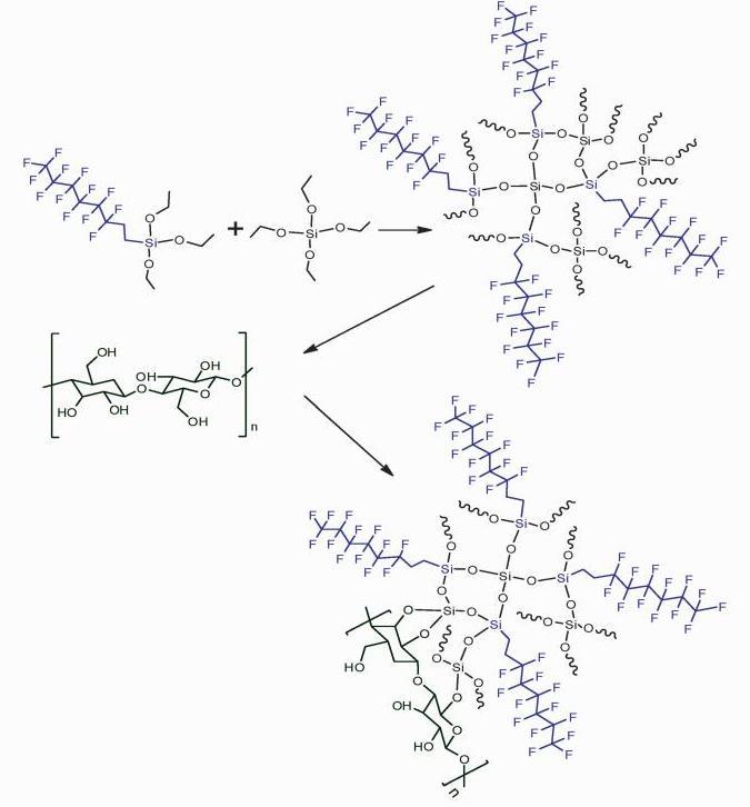 全氟辛基二氧化硅溶胶液的制备及利用其进行滤纸疏水化修饰的反应原理