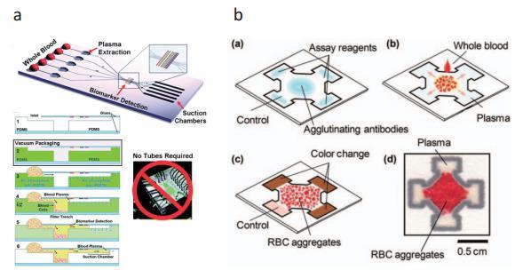 (a) 真空处理的微流控芯片 (b) 纸做的微流控芯片,上述两种芯片皆能即时分离血球血浆,进行血浆内蛋白质检测