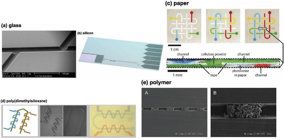玻璃、PDMS、纸、硅、PMMA材质芯片示范图对比