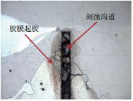 图8? 刻蚀导致胶膜脱落失效