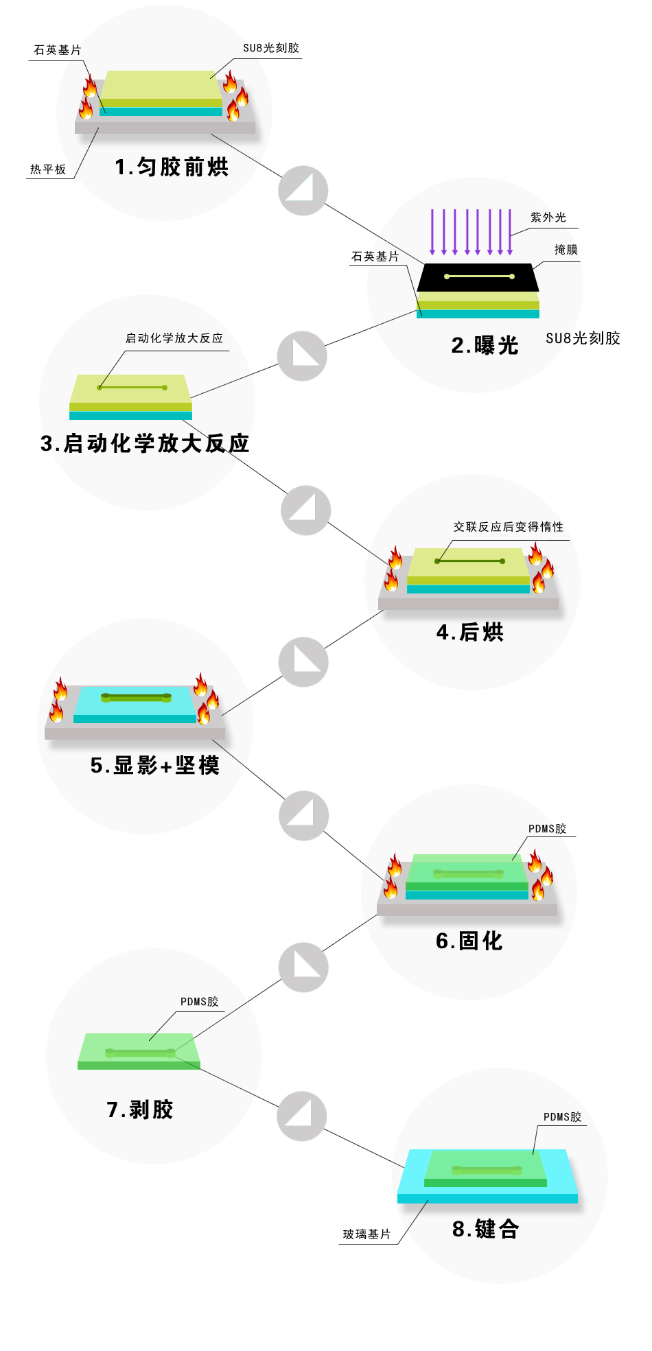 模塑法-微流控PDMS芯片制备流程图