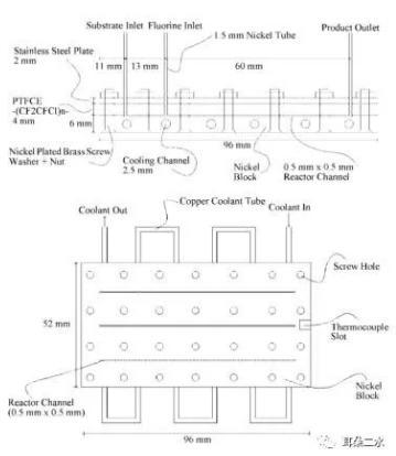 图2并行放大三倍后的微反应器的详细示意图