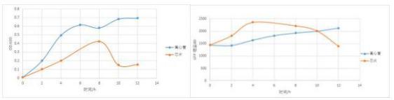 12 小时培养得到的大肠杆菌的 OD-时间曲线和荧光强度-时间曲线