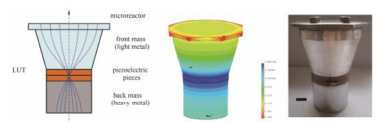 图4超声微反应器、振动位移分布及实物图(标尺为10mm)