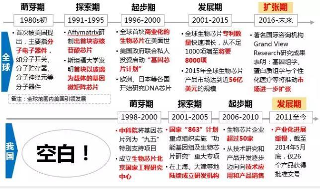 图3.全球及我国生物芯片发展历程