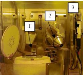 显示晶片卡盘(1),带喷头(2)的旋转臂和光刻胶注射泵(3)[2]的喷涂装置的照片。