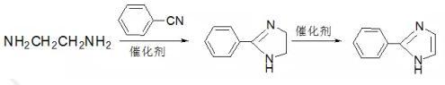 以乙二胺与卞腈或其衍生物反应环合催化脱氢直接得到2-苯基咪唑