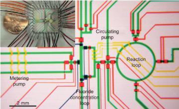 """图6:用于合成2-脱氧-2- [18 F]氟-D-葡萄糖([18 F] FDG)的微流体反应器。请注意相应标签的设备的子单元。可以看出,该设备的整个占地面积几乎不大于硬币。Lee等人的图片 """"使用集成微流体的放射性标记成像探针的多步合成""""。"""