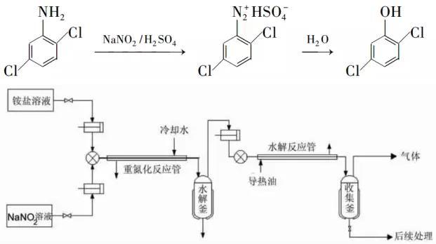 图3 2,5-二氯苯酚的连续合成流程