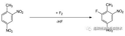 元素氟直接对1-甲基-1,4-二硝基苯的氟化反应