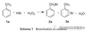 以甲苯为底物,进行了模型研究(Scheme 1)