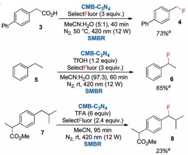 连续多相光催化体系用于其他底物的氟化反应