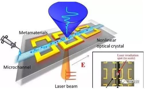 图一采用装配式太赫兹微流控芯片进行溶液测量的示意图