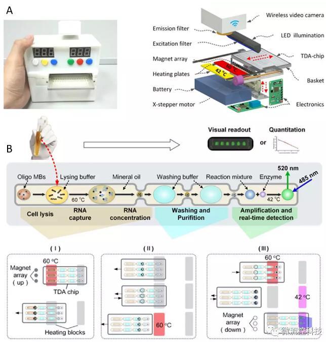 图1 液滴阵列微流控芯片核酸分析系统。A. 分析仪器实物及结构示意图; B. 分析原理示意图。