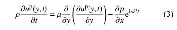 压力梯度驱动液流在xy截面上的N-S动量方程