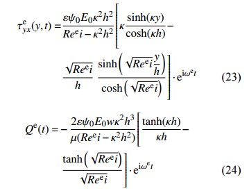 电场驱动作用下切应力和流率的分布规律