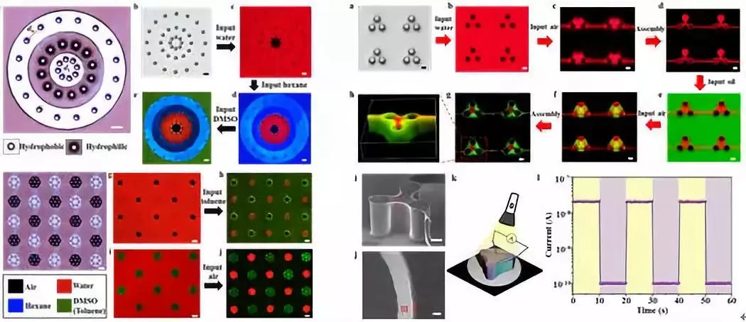 图2. 可编程的流体图案化及微型立体器件的制造