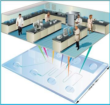 传统实验室转换为微流控芯片实验室 示意图