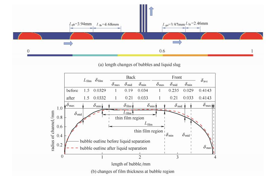 图3弹状流经微通道分液后流型变化