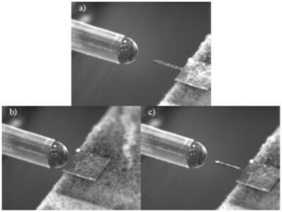 定制的微针涂覆设备和微针涂覆过程:a)涂覆前;b)微针涂覆中;c)撤回微针,完成涂覆