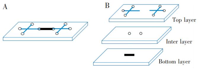 磁珠芯片设计图:(A)芯片俯视示意图;(B)芯片各层示意图