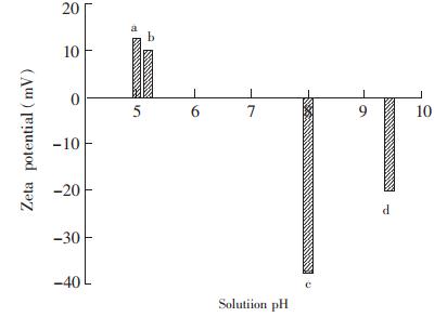 磁珠在不同溶液中的Zeta电位a,淋洗液;b,样品吸附溶液;c,洗脱液;d,样品对照液