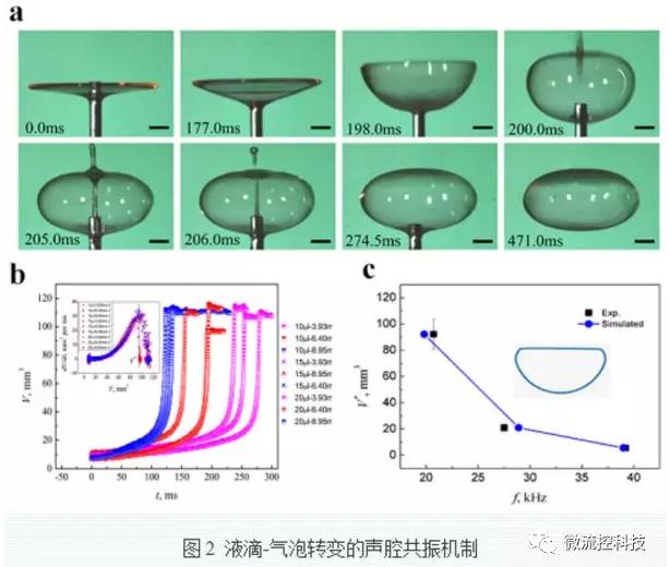 液滴-气泡转变的声控共振机制
