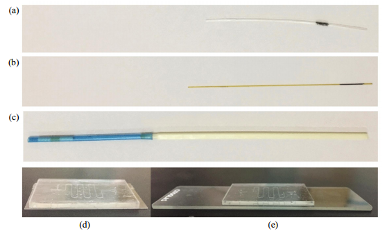 Fig.2Cryopreservationdevicesandintegrationmicrofluidicchips(a)OPS.(b)QC.(c)Cryotop.(d)PDMS-transparentceramicintegrationmicrofluidicchip.(e)PDMS-glassintegrationmicrofluidicchip