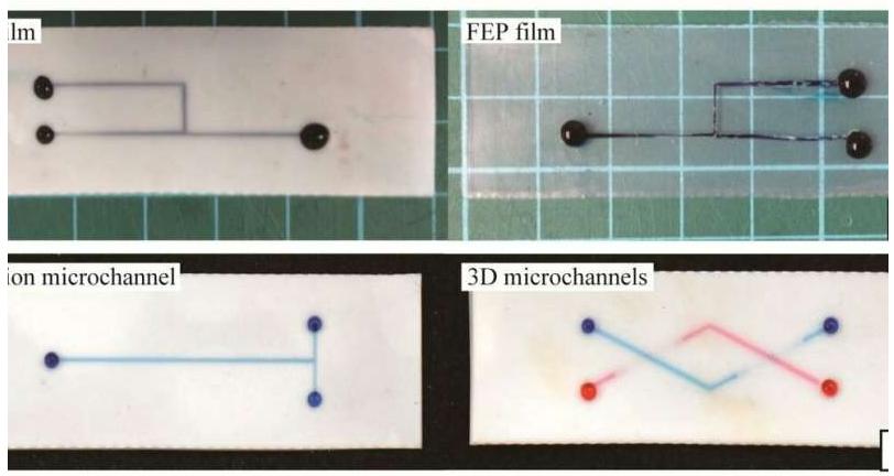 代表性的含氟聚合物微通道,其中充满含水染料的水。图片来源:SUTD