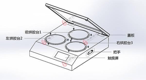 多温区烘胶台/热板外观示意图