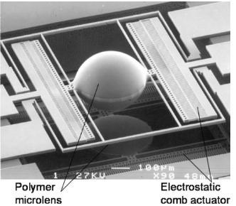 图4.用于聚焦和扫描的聚合物微透镜