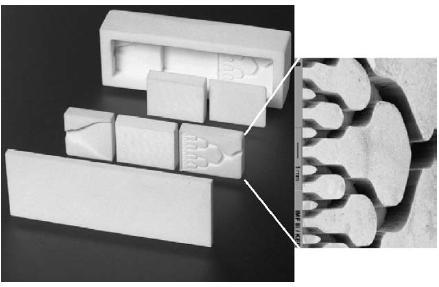 图6. 具有可交换功能元件的陶瓷微反应器