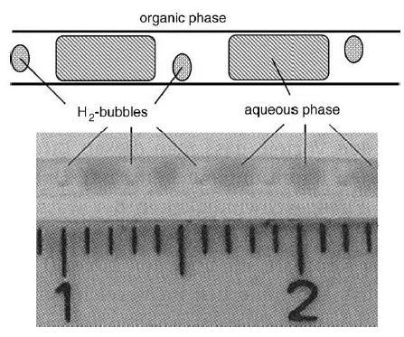 图12. 三相气-液-液毛细管微反应器的流体动力学行为(方案和照片)