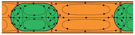 图7 液液两相微反应器内液弹和分散相内循环示意图