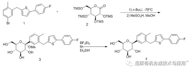 图2 坎格列嗪合成路线1