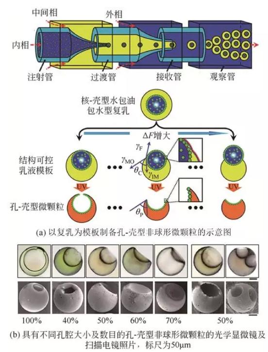 复乳模板法制备孔-壳型非球形微颗粒
