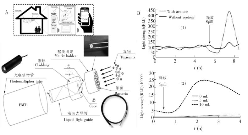 空气毒性检测传感器示意图及其对丙酮和三氯甲烷的检测结果
