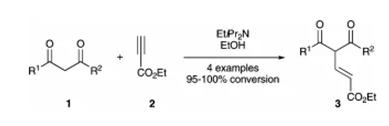 方案1 1,4-烯醇化物加成丙炔酸乙酯2