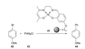 方案19 聚合物负载催化剂41用于Kumada反应