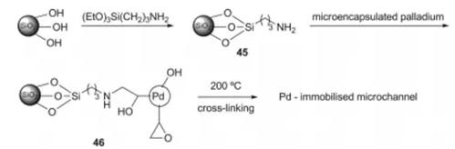 方案20 固定化Pd催化剂46用于微反应器加氢