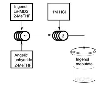 图10.流动化学中Ingenol mebutate的合成路线