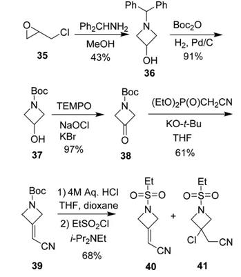 图13.a 巴瑞克替尼片段的药物合成路线