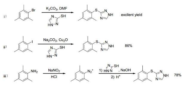 图1. 唑草胺关键中间体的传统合成方法