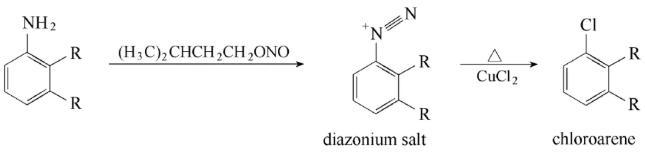 图1. Sandmeyer重氮化和氯化反应