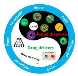 图1、纸基微流控芯片在快速诊断和药物控释中的应用