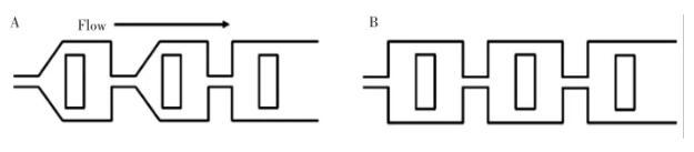图4 不同形状的混合腔:(A)五边形混合腔微混合器; (B)四边形混合腔微混合器