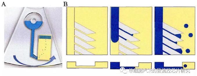 基于离心式芯片微液滴生成原理图